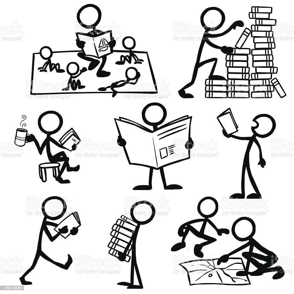 Stick Figure People Reading Stock Illustration