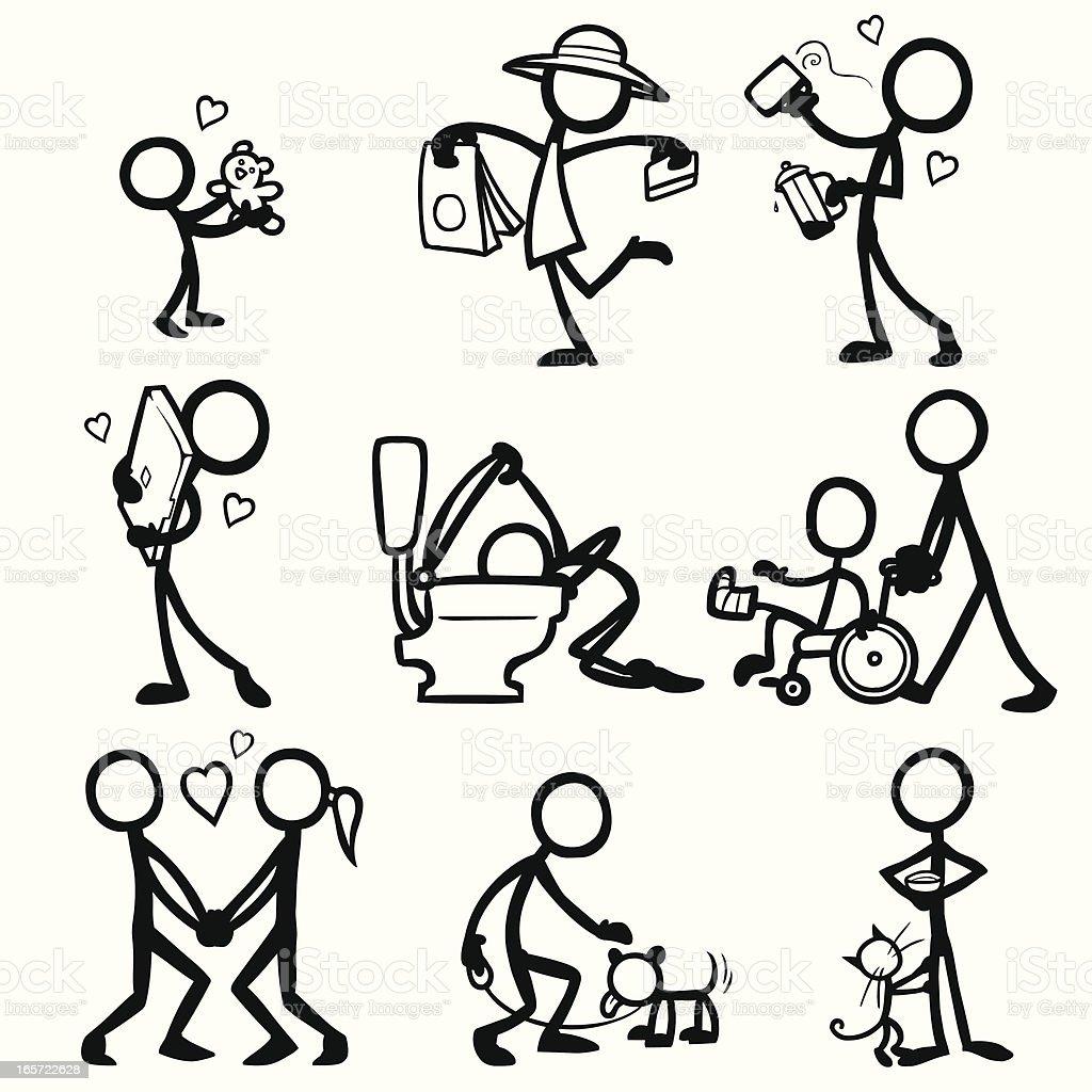 Stick Figure People Relationships Stock Illustration