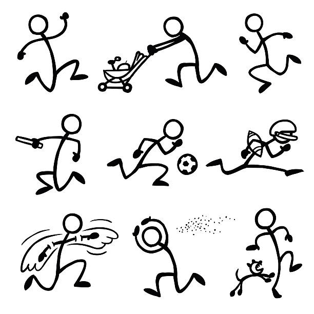 Stick Figure People Sprinting