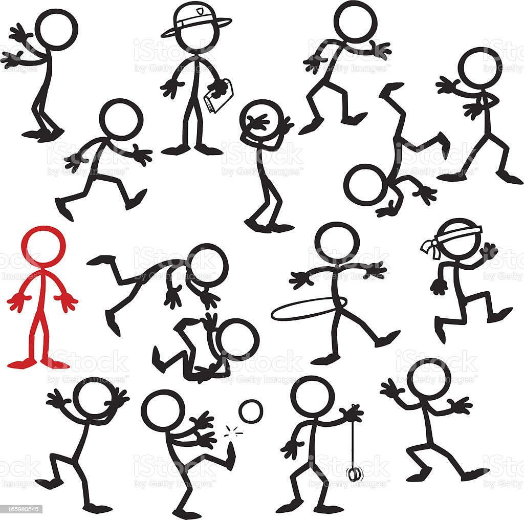 Stick Figure People stand out in a crowd royalty-free stock vector art