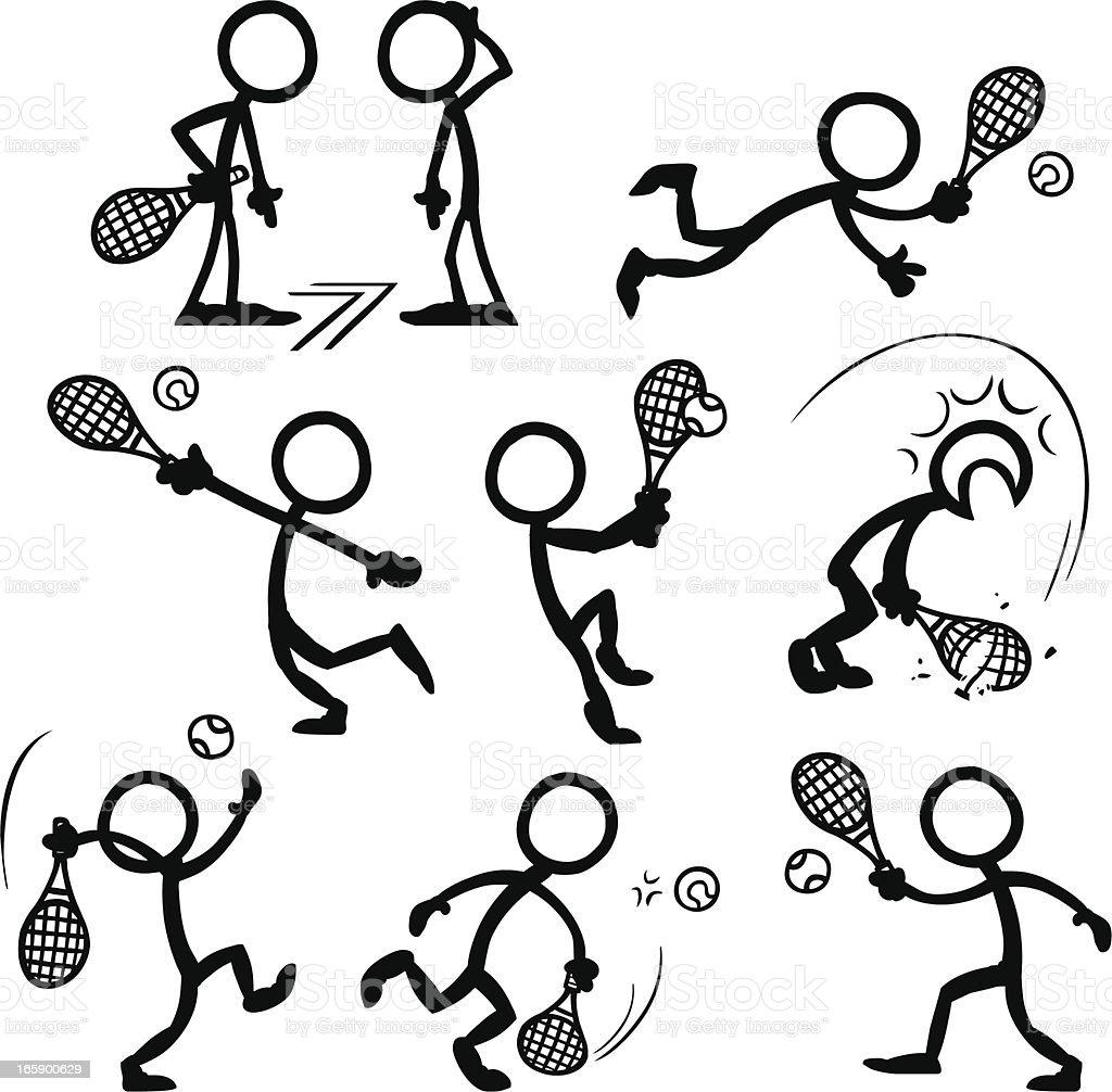 tennis stick figure figures playing vector drawing drawings dessin bonhomme tenis dibujos allumette stickfigures personas poses palito stickfigure bonecos istockphoto