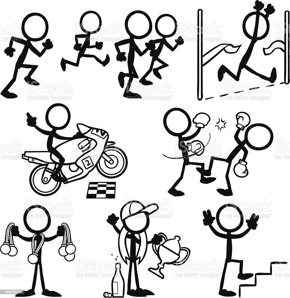 Stick Figure People Victory royalty-free stock vector art