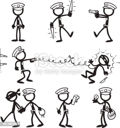 Stick Figure Police Stock Vector Art & More Images of