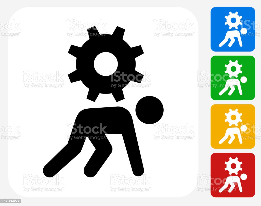 Stick Figure Pushing Gear Icon Flat Graphic Design vector art illustration