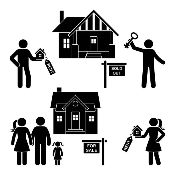stick figure rent, sell, buy, move black and white vector icon pictogram. young family gets a new house silhouette on white background - old man stick figure silhouette stock illustrations, clip art, cartoons, & icons