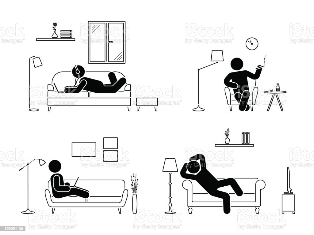 Stick figure resting at home position set. Sitting, lying, smoking cigarette, listening to music, using laptop, drinking whiskey vector icon relaxing posture on sofa and armchair. Furniture pictogram vector art illustration