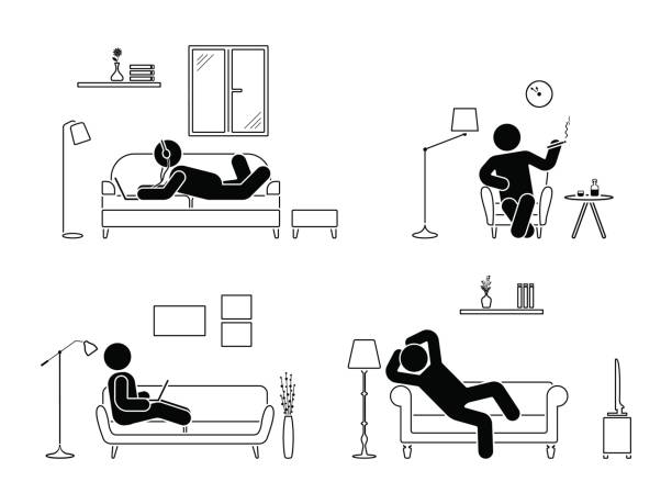 illustrazioni stock, clip art, cartoni animati e icone di tendenza di stick figure resting at home position set. sitting, lying, smoking cigarette, listening to music, using laptop, drinking whiskey vector icon relaxing posture on sofa and armchair. furniture pictogram - guy sofa