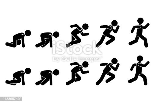 Stick figure runner sprinter sequence icon vector pictogram. Low start speeding man sign symbol posture silhouette on white background