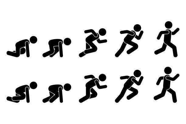 ilustrações de stock, clip art, desenhos animados e ícones de stick figure runner sprinter sequence icon vector pictogram. low start speeding man sign symbol posture silhouette on white background - running