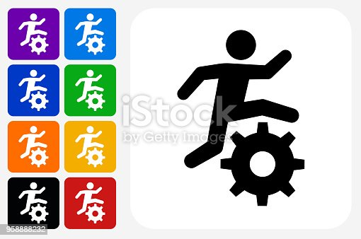 Stick Figure Running Gear Icon Square Button Set. The icon is in black on a white square with rounded corners. The are eight alternative button options on the left in purple, blue, navy, green, orange, yellow, black and red colors. The icon is in white against these vibrant backgrounds. The illustration is flat and will work well both online and in print.