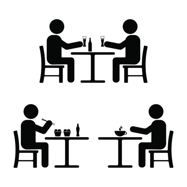 bildbanksillustrationer, clip art samt tecknat material och ikoner med stick figur set. äta, dricka, möte ikon - sitta