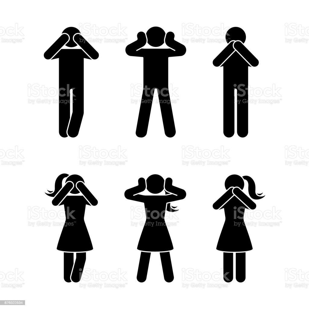 Stick figure set of three wise monkeys pictogram. See no evil, hear no evil, speak no evil concept icon Stick figure set of three wise monkeys pictogram. See no evil, hear no evil, speak no evil concept icon Adult stock vector