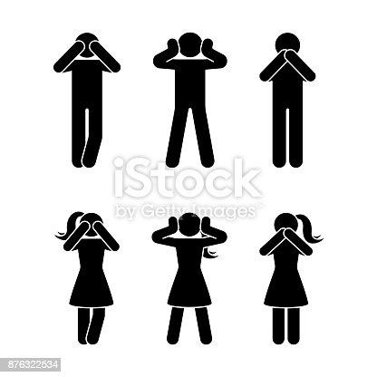 istock Stick figure set of three wise monkeys pictogram. See no evil, hear no evil, speak no evil concept icon 876322534