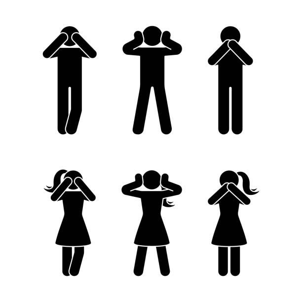 illustrazioni stock, clip art, cartoni animati e icone di tendenza di stick figure set of three wise monkeys pictogram. see no evil, hear no evil, speak no evil concept icon - ear talking