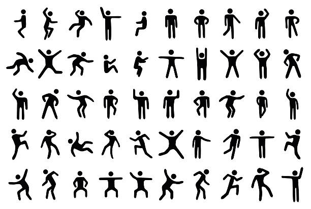 stockillustraties, clipart, cartoons en iconen met 50 stick figure set - buigen lichaamsbeweging