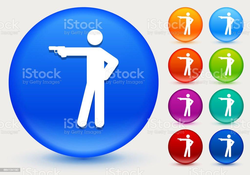 Stick Figure Shooting Icon on Shiny Color Circle Buttons stick figure shooting icon on shiny color circle buttons - immagini vettoriali stock e altre immagini di arancione royalty-free