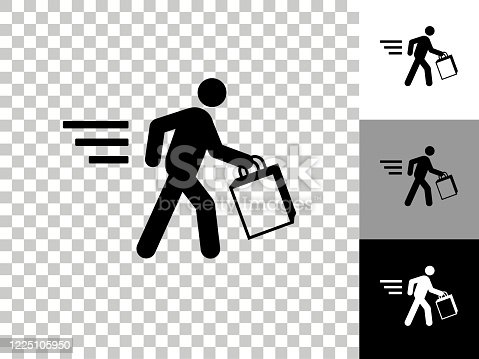 Stick Figure Shopping Icon on Checkerboard Transparent Background