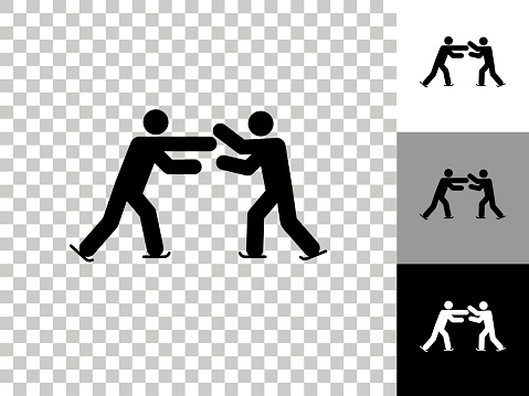 Stick Figure Skating Dance Icon on Checkerboard Transparent Background