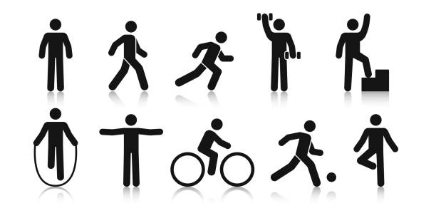 Stick figure sports. Posture stickman. People sport icons set. Man in different poses and positions, doing exercises. Black silhouette. Simple cute modern design. Flat style vector illustration. Stick figure sports. Posture stickman. People sport icons set. Man in different poses and positions, doing exercises. Black silhouette. Simple cute modern design. Flat style vector illustration. human representation stock illustrations