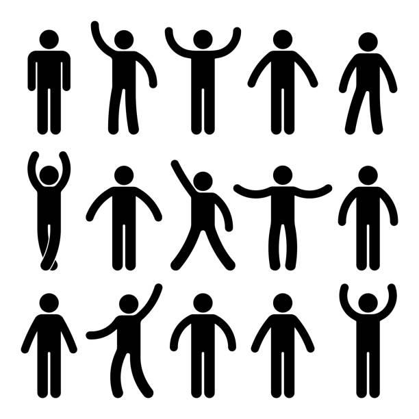 strichmännchen stehend. posiert person symbol haltung symbol zeichen piktogramm auf weißem - arme hoch stock-grafiken, -clipart, -cartoons und -symbole