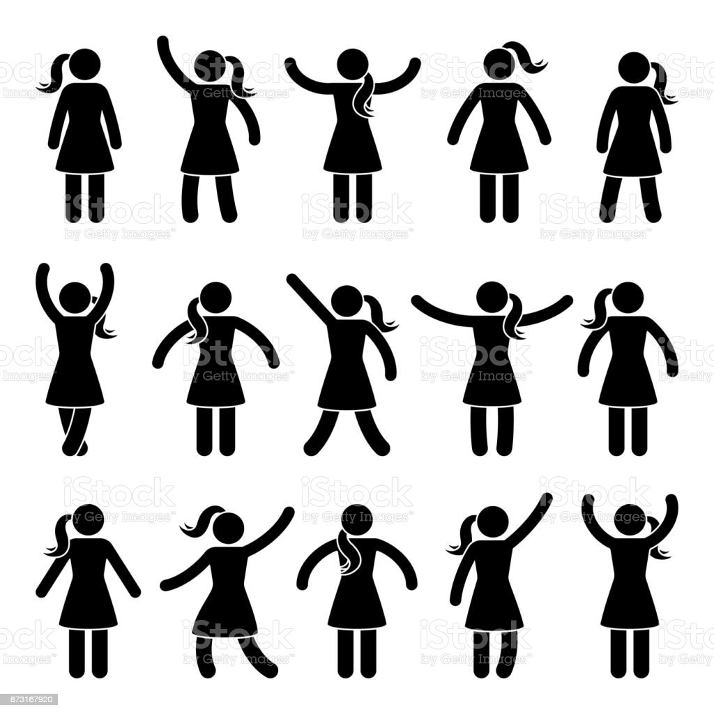 Stick figure standing position. Posing woman person icon posture symbol sign pictogram on white vector art illustration