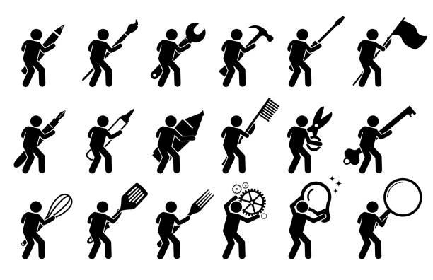 Stick figure stick man using various tools, and equipments. vector art illustration