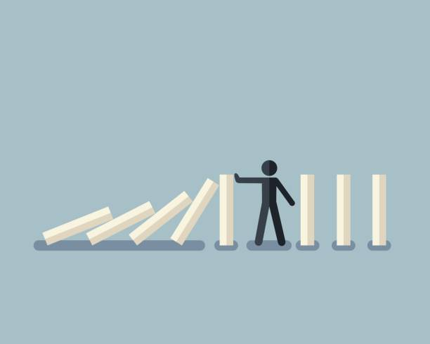 Stick figure stopping the domino effect with falling white dominoes Vector illustration of stick figure stopping the domino effect with falling white dominoes crisis stock illustrations