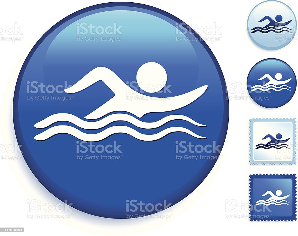 stick figure swimming icon internet button royalty-free stock vector art