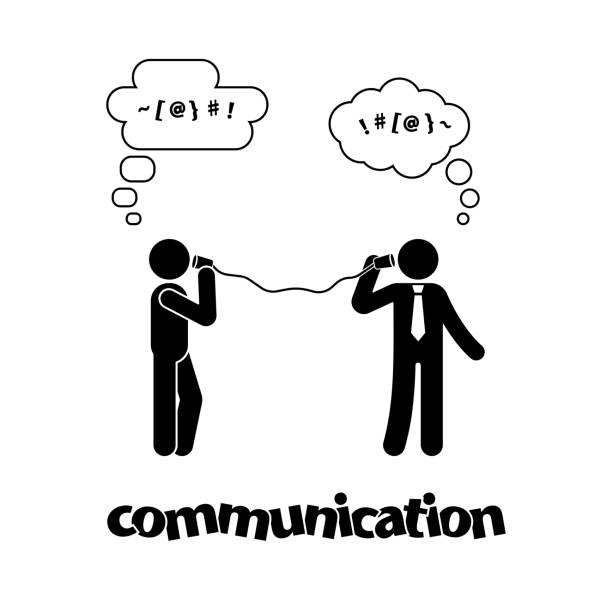 stick figure talking with tin can telephone. communication icon symbol pictogram - communication problems stock illustrations, clip art, cartoons, & icons