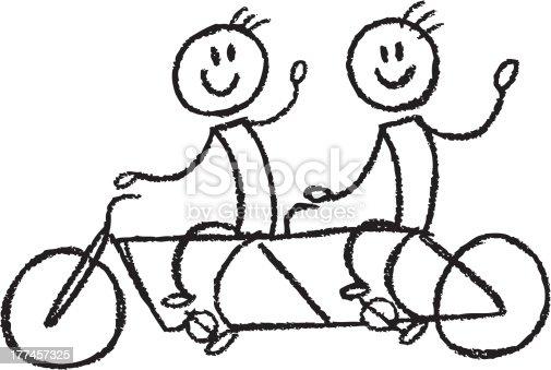 stick figures riding a tandem bike