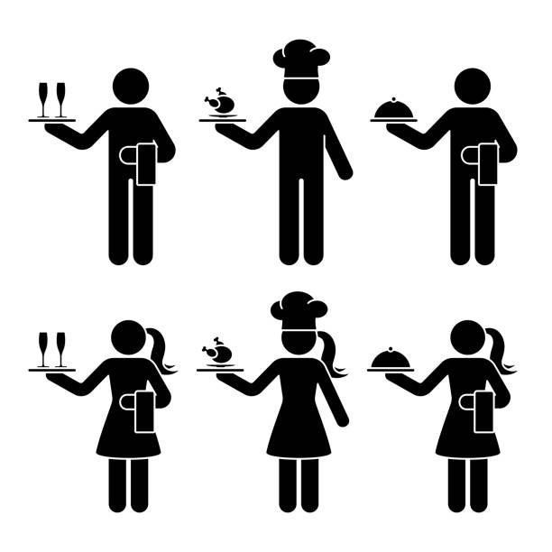 Stick figure waiter, waitress, chief cook man and woman vector icon pictogram set. Standing with champagne glasses, chicken food, tray restaurant service silhouette on white Stick figure waiter, waitress, chief cook man and woman vector icon pictogram set. Standing with champagne glasses, chicken food, tray restaurant service silhouette on white alcohol drink silhouettes stock illustrations
