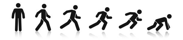 Stick figure walk and run. Running animation. Posture stickman. People icons set. Man in different poses and positions. Black silhouette. Simple cute modern design. Flat style vector illustration. Stick figure walk and run. Running animation. Posture stickman. People icons set. Man in different poses and positions. Black silhouette. Simple cute modern design. Flat style vector illustration. human representation stock illustrations