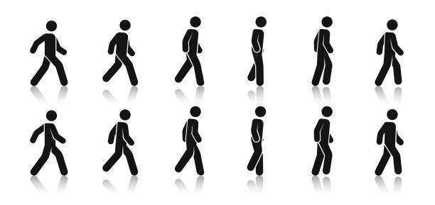 Stick figure walk. Walking animation. Posture stickman. People icons set. Man in different poses and positions. Black silhouette. Simple cute modern design. Flat style vector illustration. Stick figure walk. Walking animation. Posture stickman. People icons set. Man in different poses and positions. Black silhouette. Simple cute modern design. Flat style vector illustration. person icon stock illustrations