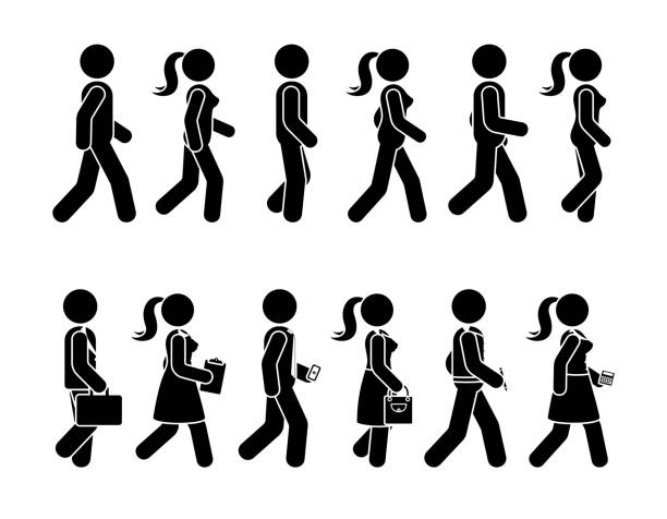 stick figure walking man and woman vector icon pictogram. group of people moving forward sequence set - контурный рисунок stock illustrations