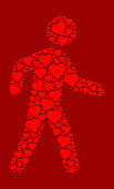 Stick Figure Walking Red Hearts Love Pattern. The main object is composed of red heart icons. The vector heart icons fill in the entire shape and form a seamless pattern. The hearts are red in color and the background is a solid maroon color, The image is ideal for representing love and charity concepts.