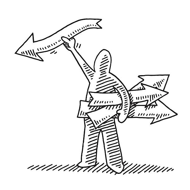 Stick Figure With Direction Arrows In Hand Drawing Hand-drawn vector drawing of a Stick Figure With Direction Arrows In Hand. Black-and-White sketch on a transparent background (.eps-file). Included files are EPS (v10) and Hi-Res JPG. business stock illustrations