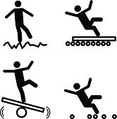 Stick figures depicting workplace dangers