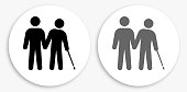 Stick Figures & Elderly Black and White Round Icon