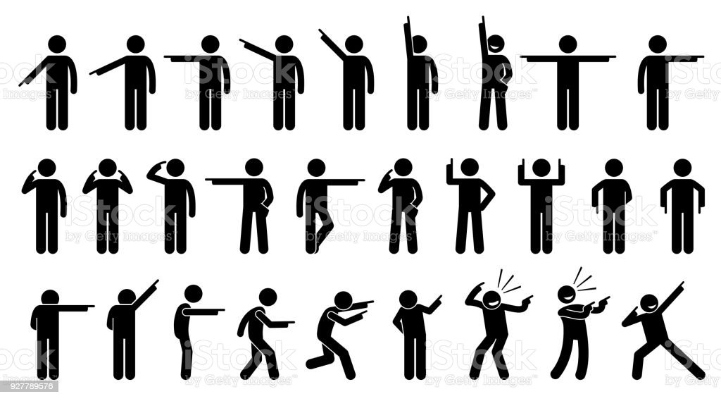 Stick Figures of a Person Pointing Finger. vector art illustration