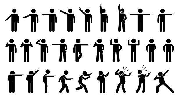 stick figures of a person pointing finger. - контурный рисунок stock illustrations