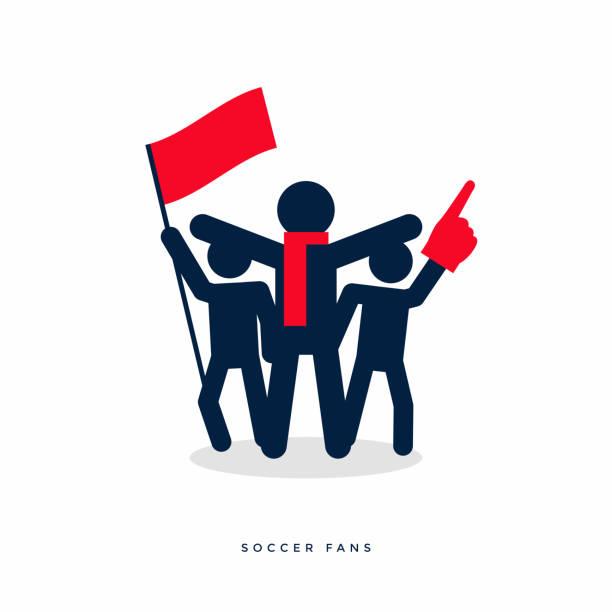 ilustrações de stock, clip art, desenhos animados e ícones de stick figures of sport fans cheering team. - soccer supporter portrait