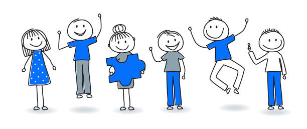 스틱 그림-성공적인 팀 작업 - 사람 모형 제작물 stock illustrations