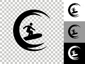 istock Stick Fugure Surfing Icon on Checkerboard Transparent Background 1251033650