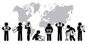 Stick man hold monitor screen :show skeleton,world map ( Worldwide Healthcare concept )( Pulmonary Tuberculosis , Arthritis , Cervical spondylosis , Lumbar spondylolisthesis , Scoliosis , Stroke )