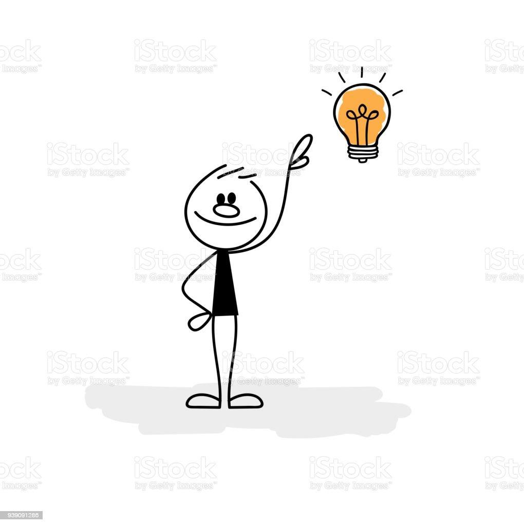 新しいアイデアと棒人間 1人のベクターアート素材や画像を多数ご用意