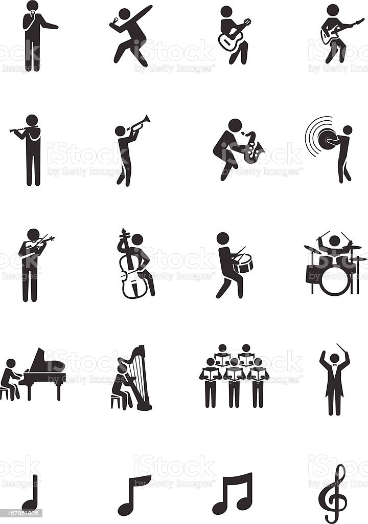 Stick Man-Musician Icon Set vector art illustration