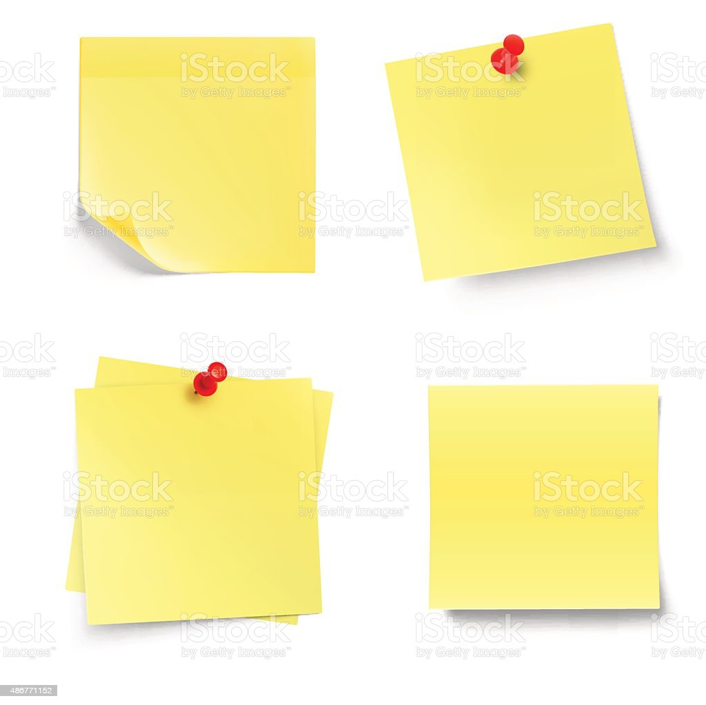 Stick note isolated on white background. Vector illustration vector art illustration