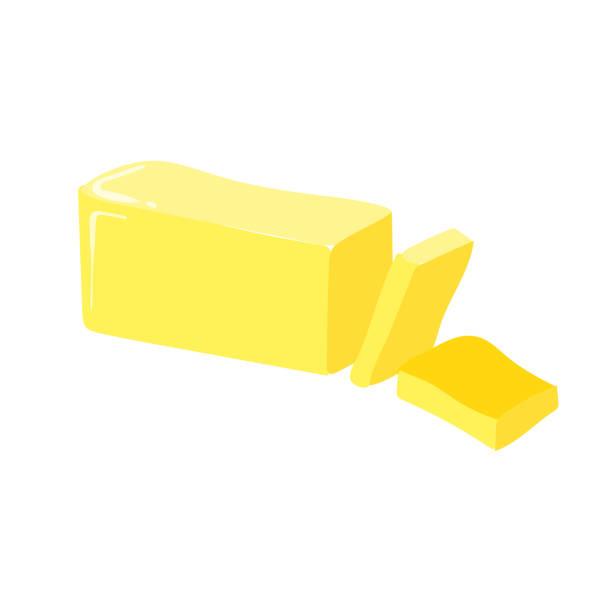 ilustrações de stock, clip art, desenhos animados e ícones de stick of butter, cut, vector icon. healthy eating cartoon illustration isolated on white background. - manteiga
