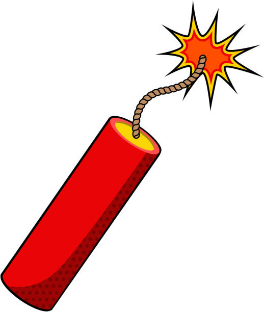 stick of dynamite Stick of dynamite. Dynamite  icon. Dynamite stick on white background. Vector design element. explosive fuse stock illustrations