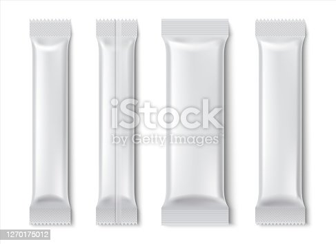 istock Stick pack. Blank sachet package mockup for coffee and tea isolated on white, paper food product pack. Vector coffee stickers 1270175012